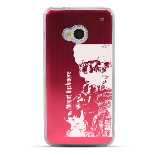Mount Rushmore - Geeks Designer Line Laser Series Red Aluminum Back on Clear Hard Case for HTC One