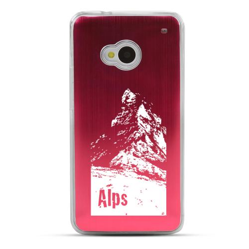 The Swiss Alps - Geeks Designer Line Laser Series Red Aluminum Back on Clear Hard Case for HTC One