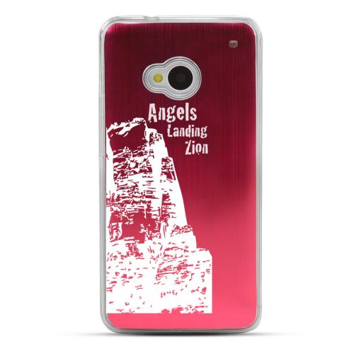 Zion Canyon - Geeks Designer Line Laser Series Red Aluminum Back on Clear Hard Case for HTC One