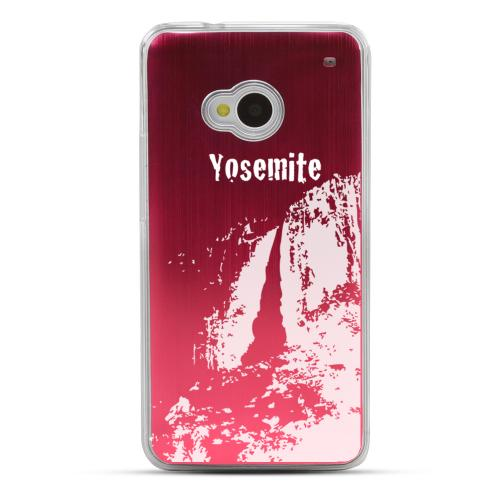 Yosemite - Geeks Designer Line Laser Series Red Aluminum Back on Clear Hard Case for HTC One