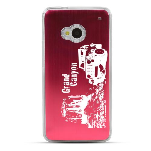 Grand Canyon - Geeks Designer Line Laser Series Red Aluminum Back on Clear Hard Case for HTC One
