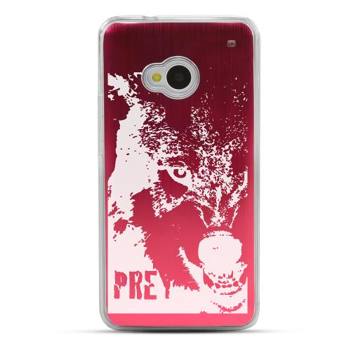 Wolf Prey - Geeks Designer Line Laser Series Red Aluminum Back on Clear Hard Case for HTC One