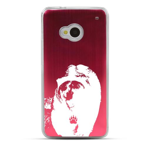 Bear Paw - Geeks Designer Line Laser Series Red Aluminum Back on Clear Hard Case for HTC One
