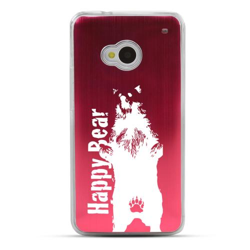 Happy Bear - Geeks Designer Line Laser Series Red Aluminum Back on Clear Hard Case for HTC One