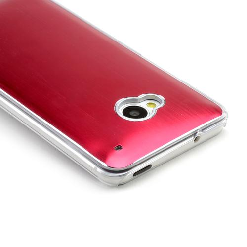 Red Aluminum Back on Clear Hard Case for HTC One