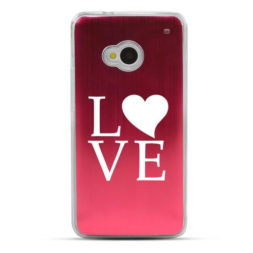 Love - Geeks Designer Line Laser Series Red Aluminum Back on Clear Hard Case for HTC One