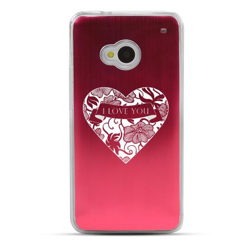 I Love You - Geeks Designer Line Laser Series Red Aluminum Back on Clear Hard Case for HTC One