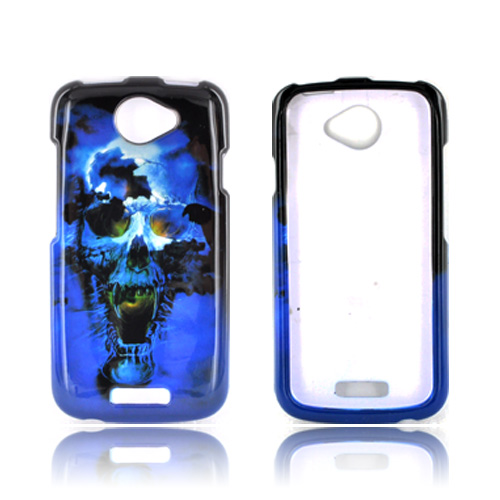 HTC One S Hard Case - Blue Skull
