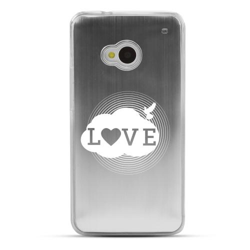 Love Cloud - Geeks Designer Line Laser Series Silver Aluminum Back on Clear Hard Case for HTC One