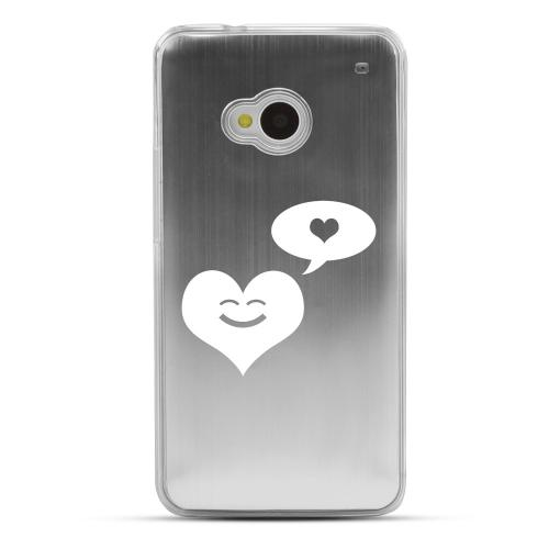 Heart Dreamer - Geeks Designer Line Laser Series Silver Aluminum Back on Clear Hard Case for HTC One