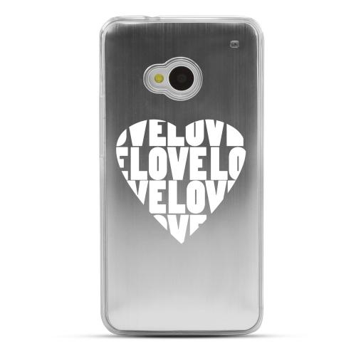 Love Heart - Geeks Designer Line Laser Series Silver Aluminum Back on Clear Hard Case for HTC One
