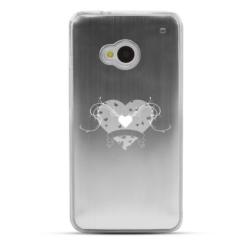 Heart Swirls - Geeks Designer Line Laser Series Silver Aluminum Back on Clear Hard Case for HTC One