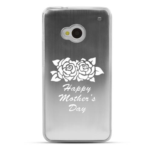 Flower Mother Day - Geeks Designer Line Laser Series Silver Aluminum Back on Clear Hard Case for HTC One