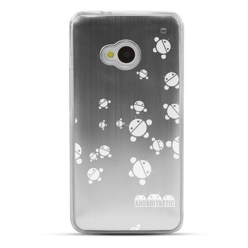 Bubble Bot Invasion - Geeks Designer Line Laser Series Silver Aluminum Back on Clear Hard Case for HTC One