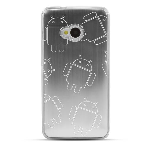 Androitastic - Geeks Designer Line Laser Series Silver Aluminum Back on Clear Hard Case for HTC One
