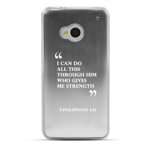 Philippians 4:13 - Geeks Designer Line Laser Series Silver Aluminum Back on Clear Hard Case for HTC One