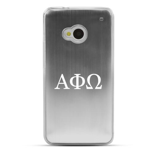 Alpha Phi Omega - Geeks Designer Line Laser Series Silver Aluminum Back on Clear Hard Case for HTC One