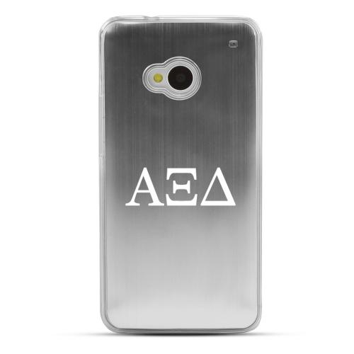 Alpha Xi Delta - Geeks Designer Line Laser Series Silver Aluminum Back on Clear Hard Case for HTC One