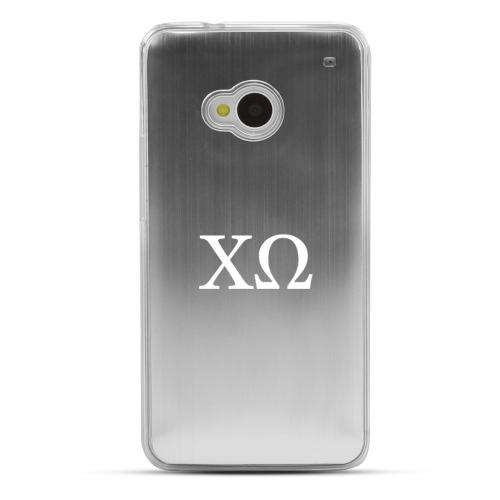 Chi Omega - Geeks Designer Line Laser Series Silver Aluminum Back on Clear Hard Case for HTC One