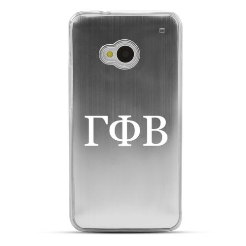 Gamma Phi Beta - Geeks Designer Line Laser Series Silver Aluminum Back on Clear Hard Case for HTC One