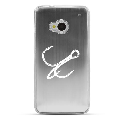 Fish Hook - Geeks Designer Line Laser Series Silver Aluminum Back on Clear Hard Case for HTC One