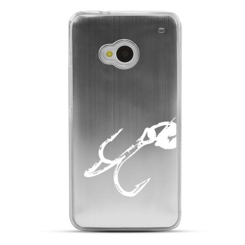 Fish Hook 2.0 - Geeks Designer Line Laser Series Silver Aluminum Back on Clear Hard Case for HTC One