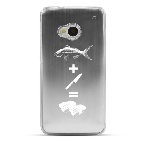 Fish + Knife = Sushi - Geeks Designer Line Laser Series Silver Aluminum Back on Clear Hard Case for HTC One