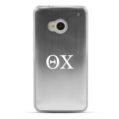 Theta Chi - Geeks Designer Line Laser Series Silver Aluminum Back on Clear Hard Case for HTC One