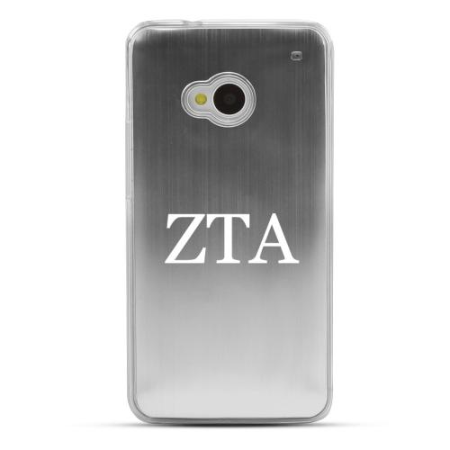 Zeta Tau Alpha - Geeks Designer Line Laser Series Silver Aluminum Back on Clear Hard Case for HTC One