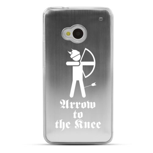 Arrow to the Knee - Geeks Designer Line Laser Series Silver Aluminum Back on Clear Hard Case for HTC One