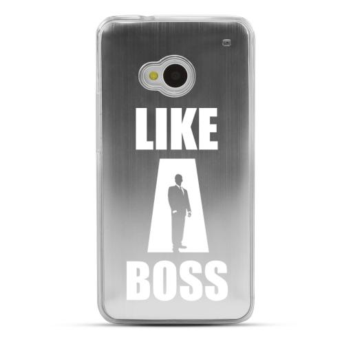 Like A Boss - Geeks Designer Line Laser Series Silver Aluminum Back on Clear Hard Case for HTC One