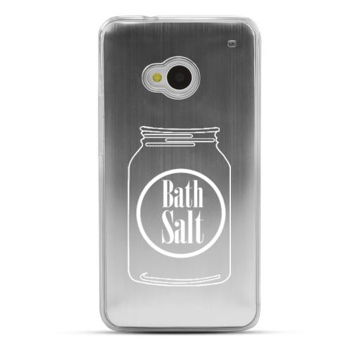 Bath Salt Jar - Geeks Designer Line Laser Series Silver Aluminum Back on Clear Hard Case for HTC One