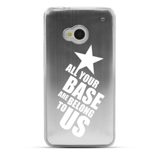 All Your Base Are Belong To Us - Geeks Designer Line Laser Series Silver Aluminum Back on Clear Hard Case for HTC One