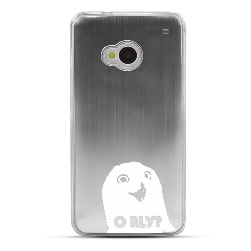 O RLY? - Geeks Designer Line Laser Series Silver Aluminum Back on Clear Hard Case for HTC One