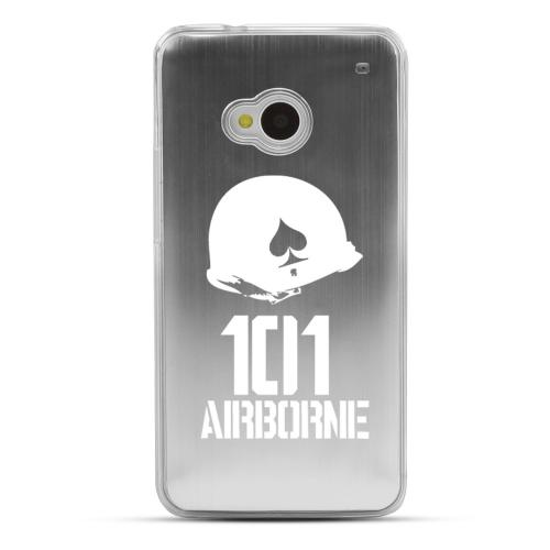101st Airborne - Geeks Designer Line Laser Series Silver Aluminum Back on Clear Hard Case for HTC One
