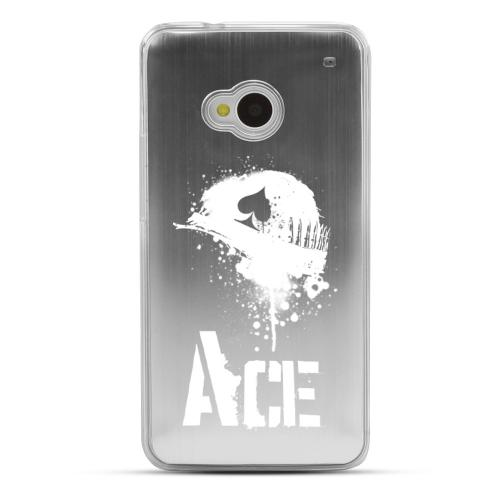 Ace Helmet - Geeks Designer Line Laser Series Silver Aluminum Back on Clear Hard Case for HTC One