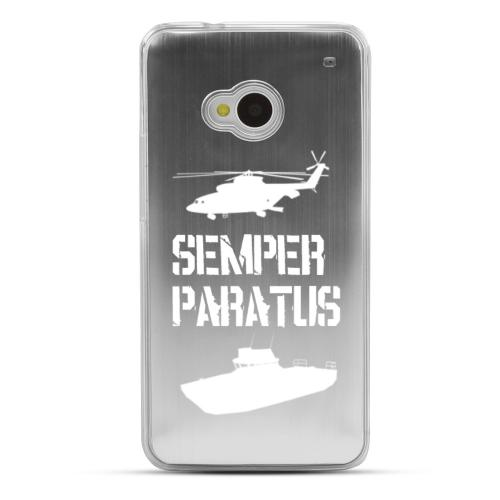 Coast Guard - Geeks Designer Line Laser Series Silver Aluminum Back on Clear Hard Case for HTC One