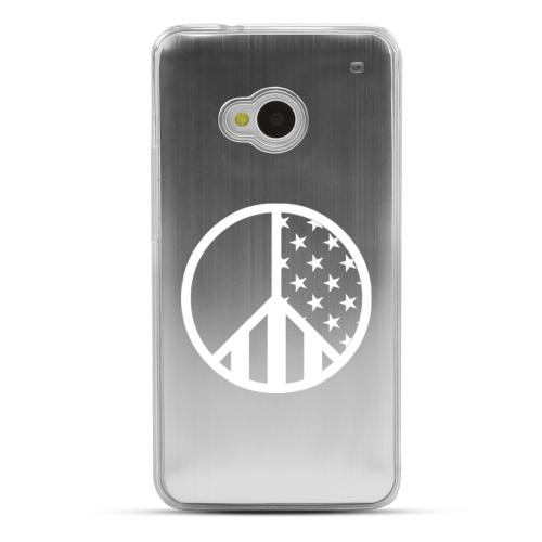 U.S. Peace Sign - Geeks Designer Line Laser Series Silver Aluminum Back on Clear Hard Case for HTC One