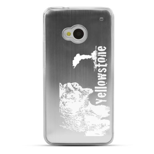 Yellowstone - Geeks Designer Line Laser Series Silver Aluminum Back on Clear Hard Case for HTC One