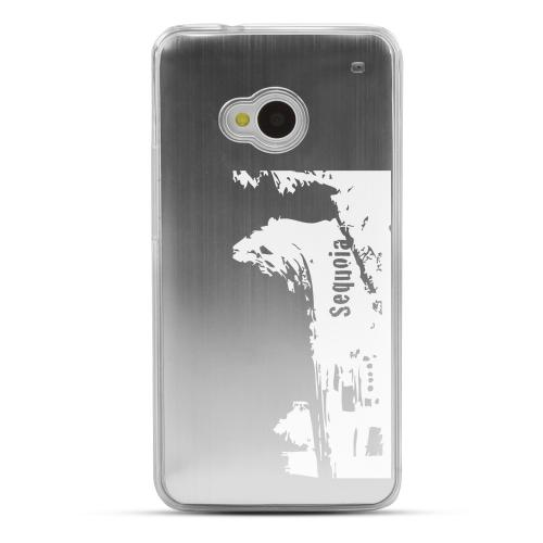Sequoia Fallen Tree Tunnel - Geeks Designer Line Laser Series Silver Aluminum Back on Clear Hard Case for HTC One