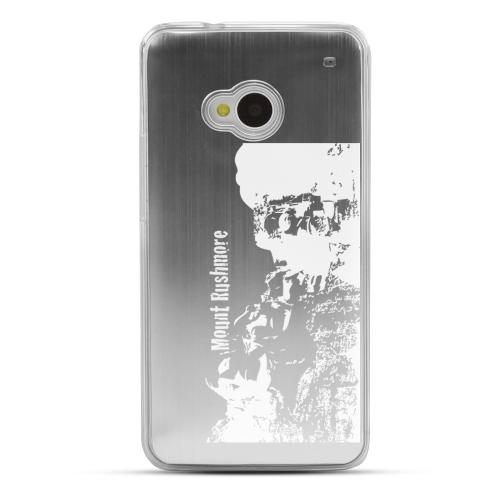 Mount Rushmore - Geeks Designer Line Laser Series Silver Aluminum Back on Clear Hard Case for HTC One