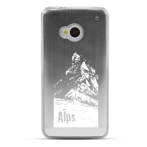 The Swiss Alps - Geeks Designer Line Laser Series Silver Aluminum Back on Clear Hard Case for HTC One