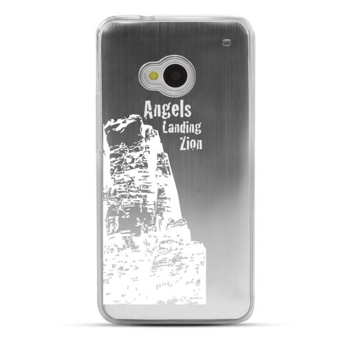 Zion Canyon - Geeks Designer Line Laser Series Silver Aluminum Back on Clear Hard Case for HTC One
