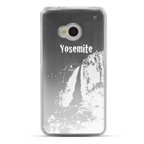 Yosemite - Geeks Designer Line Laser Series Silver Aluminum Back on Clear Hard Case for HTC One