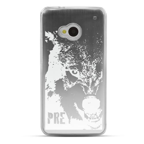 Wolf Prey - Geeks Designer Line Laser Series Silver Aluminum Back on Clear Hard Case for HTC One