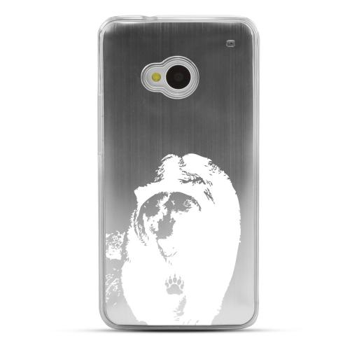 Bear Paw - Geeks Designer Line Laser Series Silver Aluminum Back on Clear Hard Case for HTC One