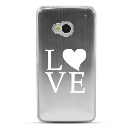 Love - Geeks Designer Line Laser Series Silver Aluminum Back on Clear Hard Case for HTC One