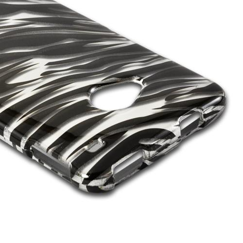 Silver/ Black Zebra Hard Case for HTC One