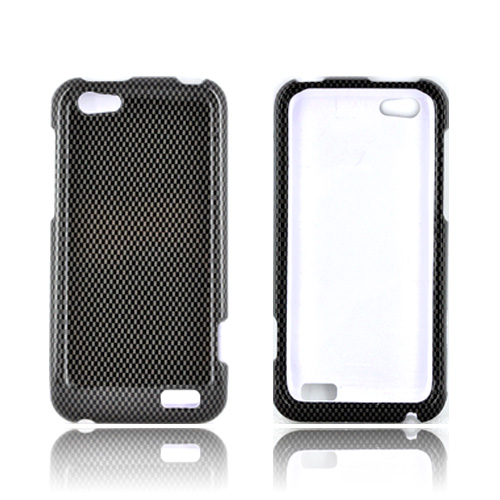 HTC One V Hard Case - Black/ Gray Carbon Fiber