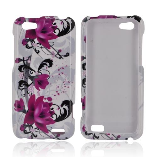 HTC One V Hard Case - Magenta Flowers & Black Vines on White